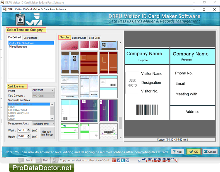gate pass id cards maker software screenshots to generate visitors